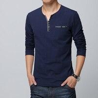 2018 estilo Euro otoño hombres camiseta de decoración botón Camiseta de manga larga Casual camiseta de Color puro Slim Fit camiseta para los hombres