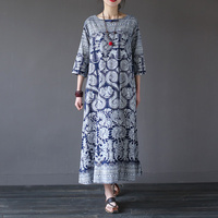 Chinese Style Vintage Print Women Long Dress O Neck Loose Casual Summer Dress Brand Design Linen