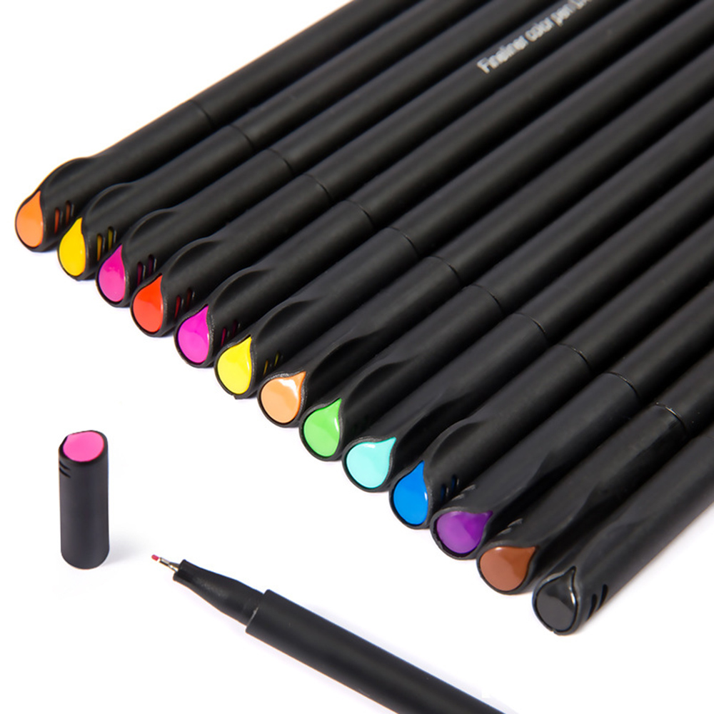 Mini 12/24Pcs Fineliner Brush Pen Set Micron Graffiti Art Marker Drawing Color Pen Liner Caligraphy Finecolour Pencil Stationery