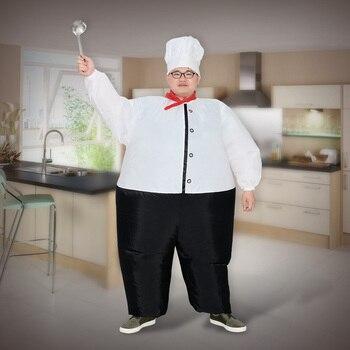 Chef Gonfiabile Del Costume Delle Donne Gli Uomini Adulti Aria Soffiata Vestiti di Halloween Festa di Carnevale Cosplay Outfit Purim Cuoco Oktoberfest Tuta