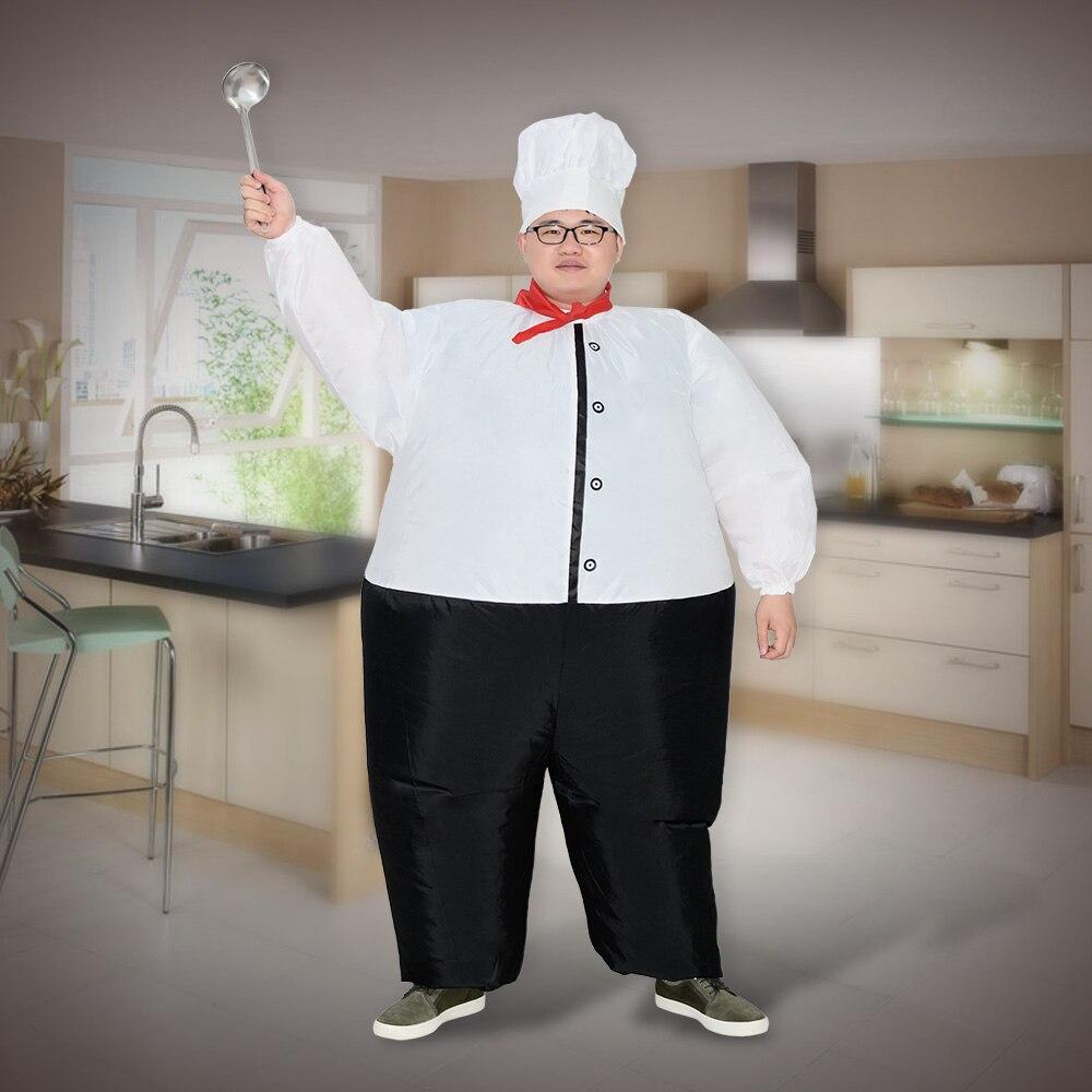 Hartig Chef Opblaasbare Kostuum Vrouwen Mannen Volwassenen Lucht Geblazen Suits Halloween Party Carnaval Cosplay Outfit Chief Kok Fancy Dress Jumpsuit