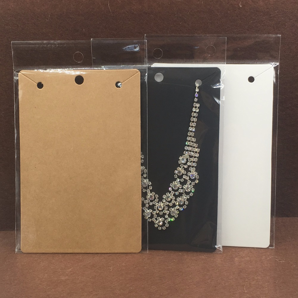 50pcs 15*10cm Kraft Necklace Cards,Big Necklace Packaging Displays Card And Blank Pendant Paper Cards