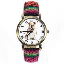 Bulldog Mascota Grande Perro Reloj Mujeres de Los Hombres de Camuflaje Militar Cinturón De Tela de Mezclilla Para Inglés Francés Perros Deporte Pulsera de Cuarzo