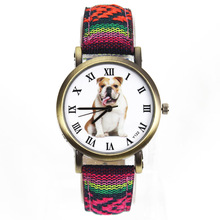 Bulldog Large Pet Dog Watch Women Men Military Camouflage Denim Canvas Belt For English French Dogs Sport Quartz Wrist Watch