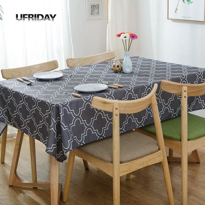 UFRIDAY Coffee Table Cloth Simple Modern Plaid Tablecloth