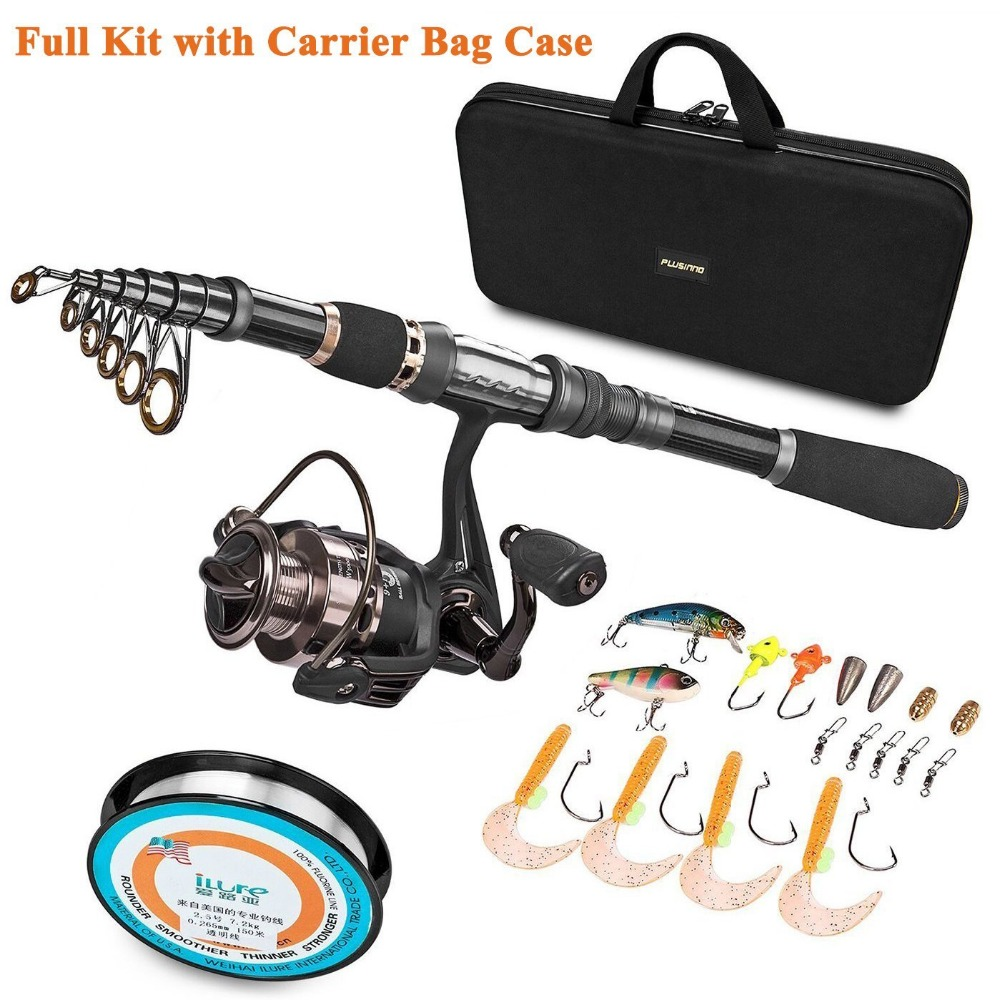 PLUSINNO Telescopic Fishing Rod and Reel Combos FULL Kit Spinning Fishing Gear Organizer Pole Sets with