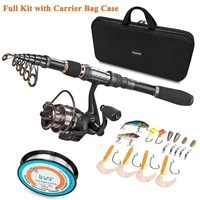 PLUSINNO Telescopic Fishing Rod and Reel Combos FULL Kit  Spinning Fishing Gear Organizer Pole Sets with Line Lures Hooks Reel