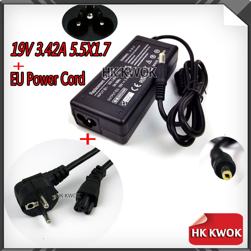 Power Supply For Laptop 19V 3.42A 5.5x1.7mm + EU Power Cord For acer 3810T 4810T 4710 4720Z 4736G 4738G D725 Charging Laptop