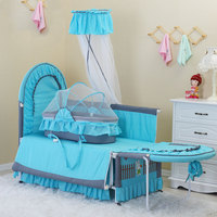 EU standard export No Screw Multi functional Child Bed newborn sleeping bed send bedding set Iron Cloth Crib Cradle baby bed
