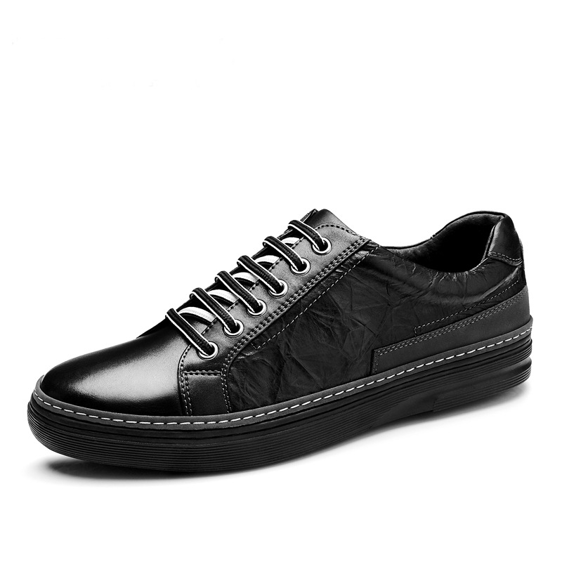 все цены на Mr Smile Fallow Genuine Leather Cowhide Lace-up Rubber Man Shoes Tenis Masculino Adulto Casual Men Oxford Walking Skate Shoe онлайн