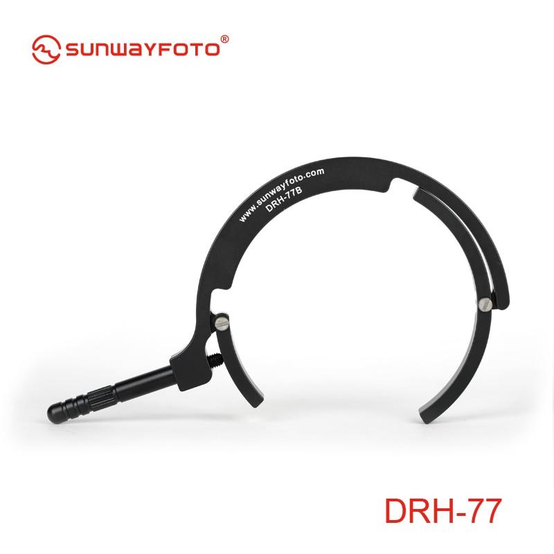 SUNWAYFOTO DRH-77 lente soporte trípode Placa de liberación rápida de la lente teleobjetivo centrándose apoyo manejar lente soporte para cámara DSLR