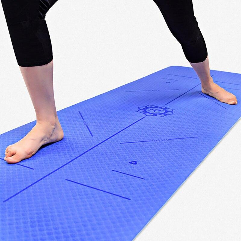 @1  Коврик для йоги TPE 6MM Нескользящий экологичный коврик Спортивный баланс Направляющая Линия положен ①