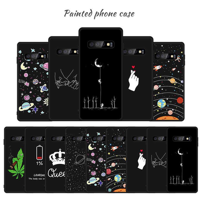 Matte TPU Caso Padrão Para Samsung Galaxy S10 Plus S10e S9 S8 Plus A9 A8 Plus 2018 A9S A8S A6S nota 9 8 Flores Capa Shell