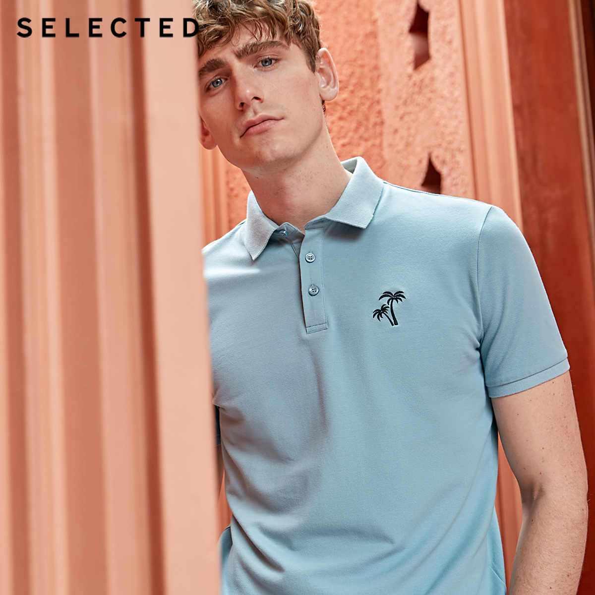 SELECTED Men's Pure Color Turn-down Collar Short-sleeved Polo S|419206535