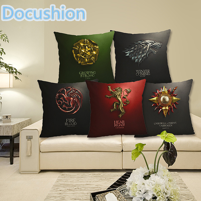 New Linen Square Decorative Throw Pillow Case Vintage Cushion Case Euphoria Home Decorative Cushion Cover Game of Thrones
