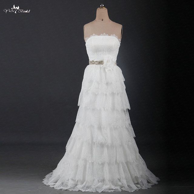 Us 288 0 Rsw1211 Strapless Tiered Layers Lace Bohemian Wedding Dresses In Wedding Dresses From Weddings Events On Aliexpress Com Alibaba Group