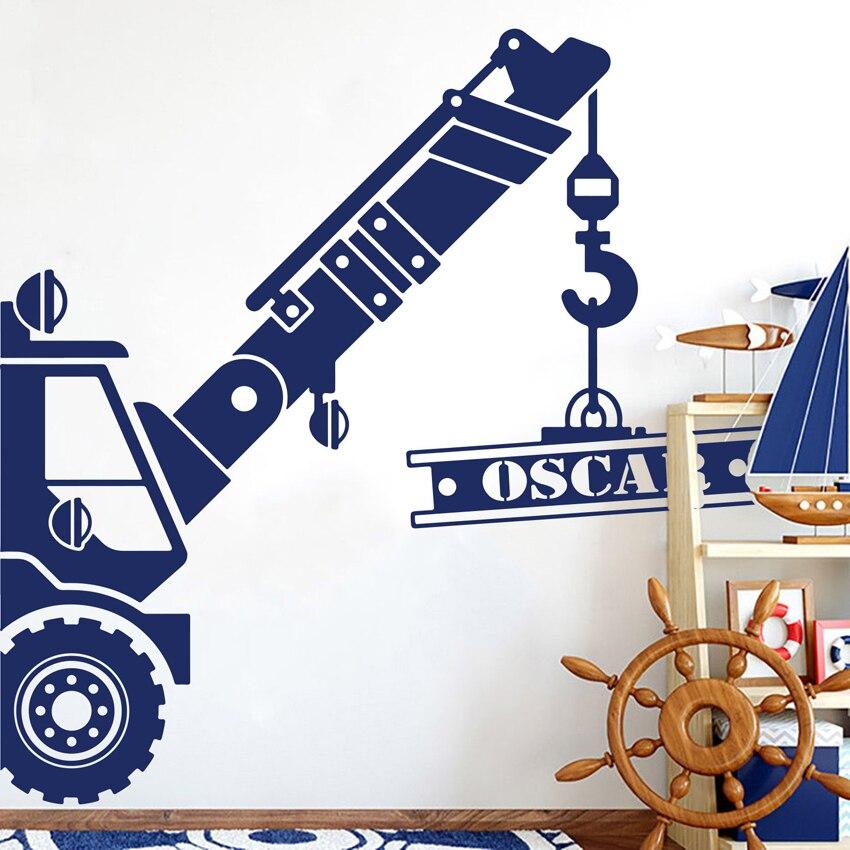 Nome personalizado decoração guindaste caminhão decalque da parede personalizado construção carro adesivo de parede mural da arte do vinil crianças decoração do quarto j133