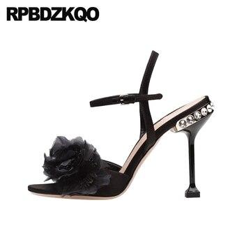 Pumps High Heels Flower Shoes Rhinestone Women Embellished Two Strap Sandals Crystal Peep Toe Luxury Stiletto Diamond Elegant