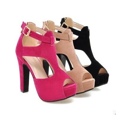 La Cabeza Áspera Romanas Llegada Del Alto apricot Sandalias Verano Mujeres Tacón Pescado 2016 Moda De Nuevas Las Zapatos Negro rojo Con Hebillas 7qvXXZ