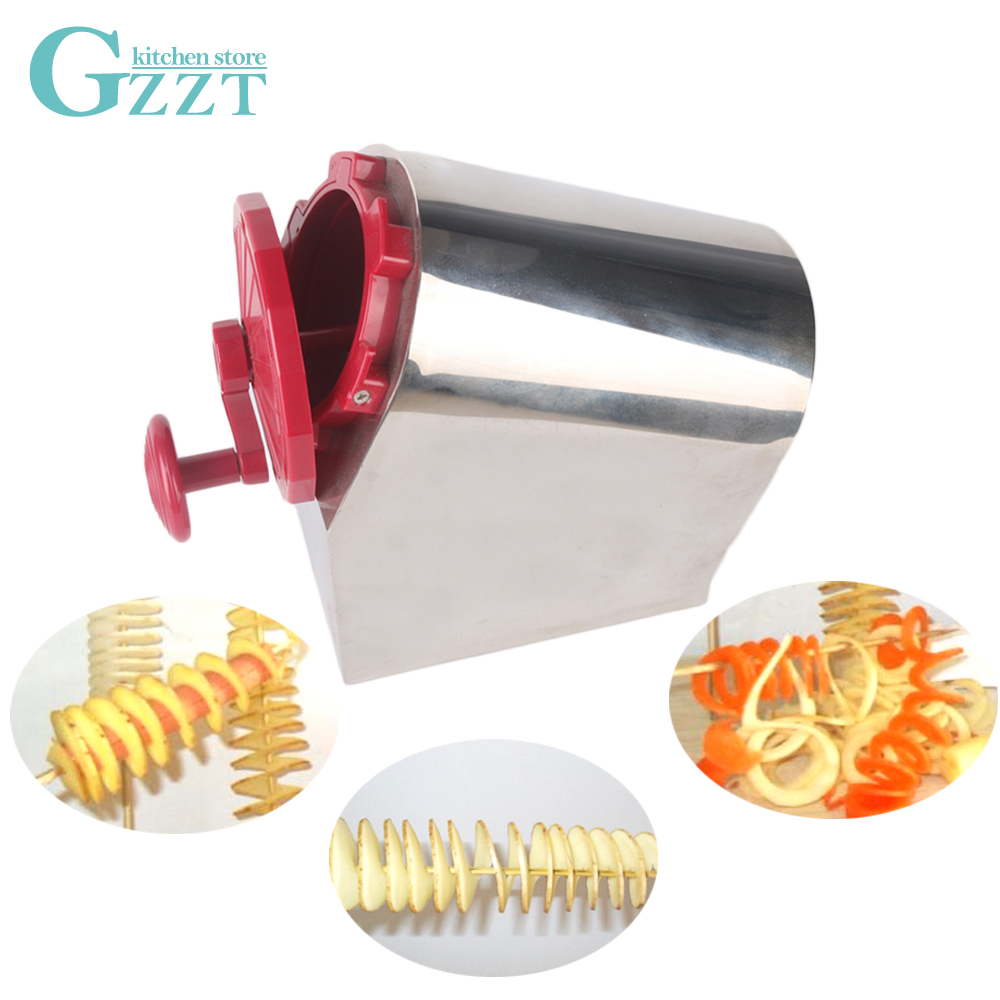 Multifunctional 3 in 1 Manual Potato Slicer Twisted Spiral Potato Cutter Stainless Steel Cutting Machine Kitchen Vegetable Tools