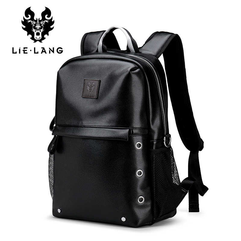Lielang Для мужчин рюкзак Водонепроницаемый черного цвета из искусственной  кожи Школьные сумки студент путешествия подростка 14 9e0bbbba7f7
