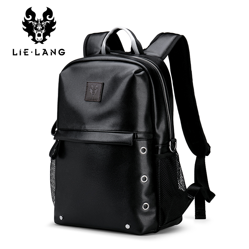 LIELANG Men Backpack Waterproof Black PU Leather School Bags Student Travel Teenager 14-inch Shoulder Bag Laptop Backpack lielang men pu leather backpack waterproof large capacity 14 inch laptop bag usb charge camouflage backpack bag mochila rucksack