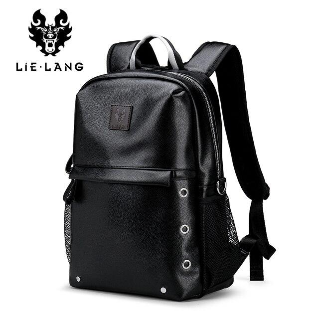 LIELANG Men Backpack Waterproof Black PU Leather School Bags Student Travel Teenager 14-inch Shoulder Bag Laptop Backpack