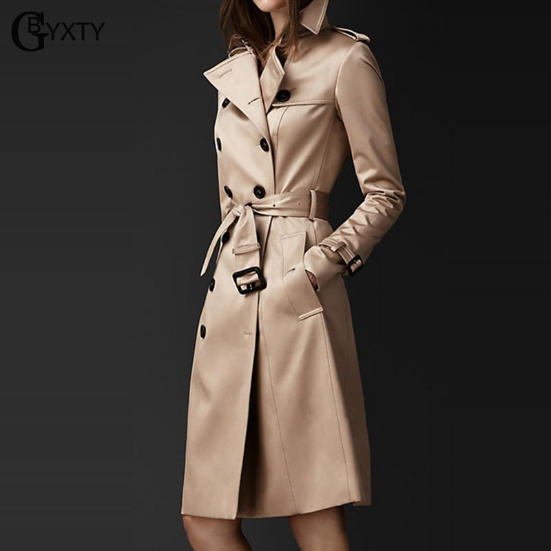GBYXTY Classic Double Breasted Trench Coat Women Spring Autumn Long Trench Ladies Business Khaki Belt Trech