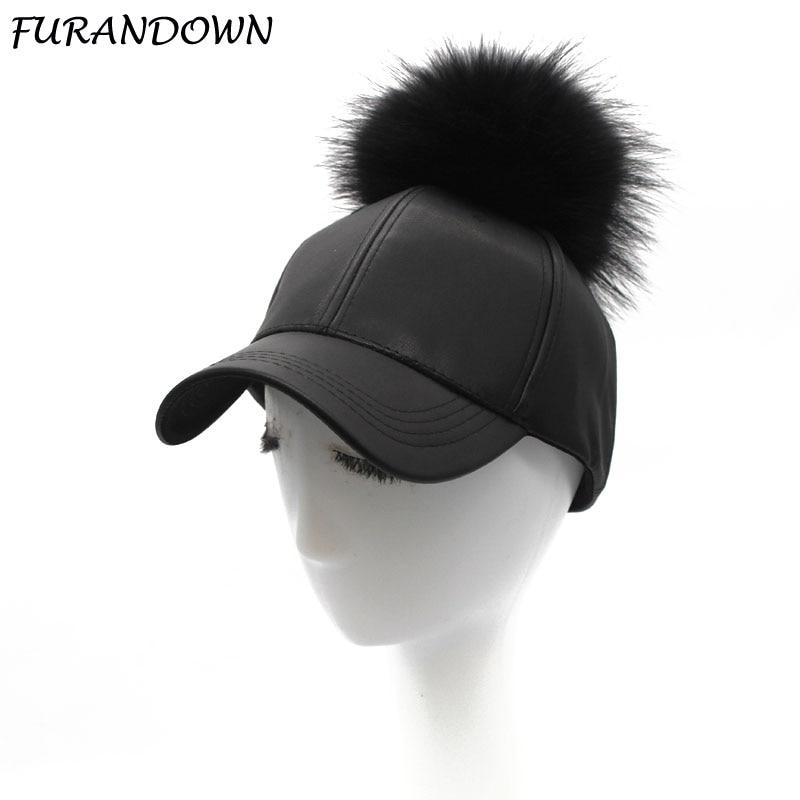 FURANDOWN 2019 Spring Winter Fur Pompoms Hat Hip Hop PU Leather   Baseball     Cap   For Women Pompon Snapback   Caps