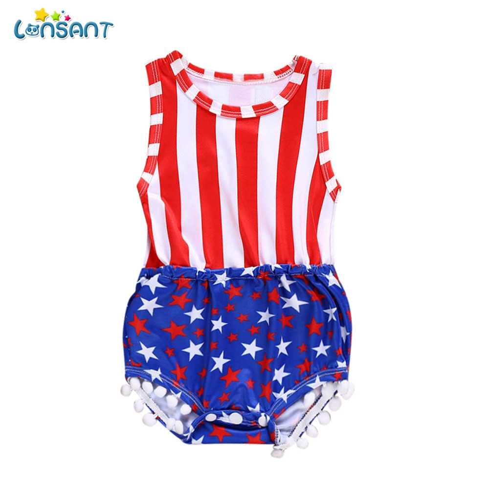45bf3f476b3c LONSANT 2018 New Arrival Summer Newborn Kids Baby Girls Boys 4th Of July  Flag Sleeveless Red
