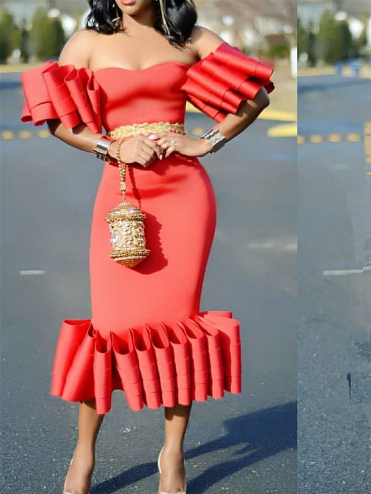 Women's Bodycon Midi <font><b>Dress</b></font> Tube Top Off Shoulder Sheath Christmas <font><b>Red</b></font> Pleated Ladies <font><b>Sexy</b></font> Stylish Events Occassion Party <font><b>Dresses</b></font> image