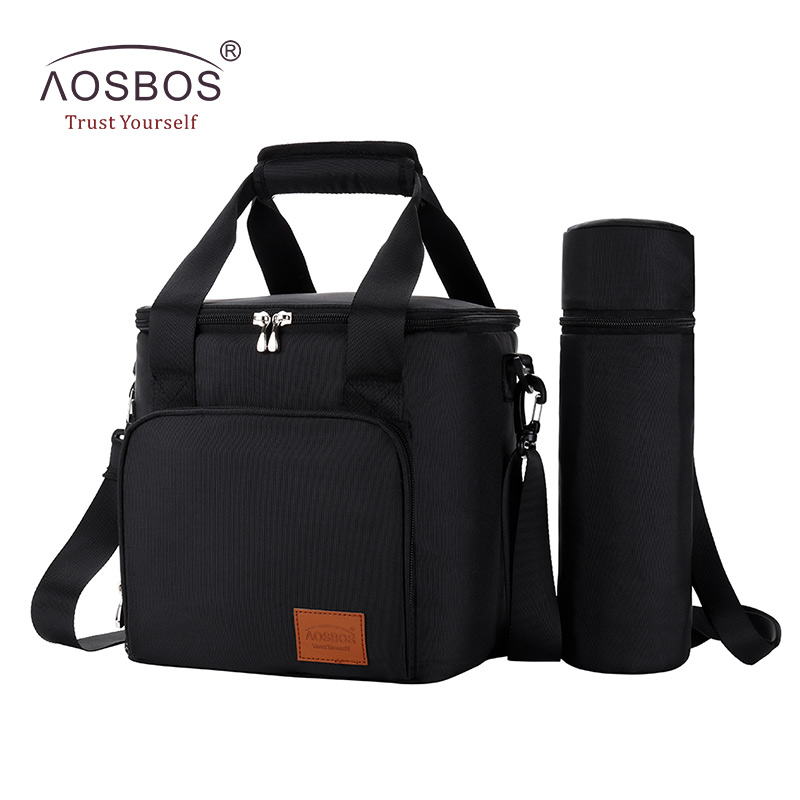 Aosbos Portable Shoulder Cooler Bag Thermal Insulated Tote Bags Large Food Storage for Travel Adults Solid Picnic Lunch