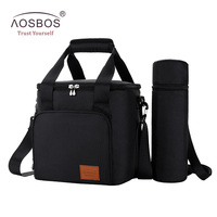 Aosbos Portable Shoulder Cooler Bag Thermal Insulated Tote Bags Large Food Storage Bags for Travel Adults Solid Picnic Lunch Bag