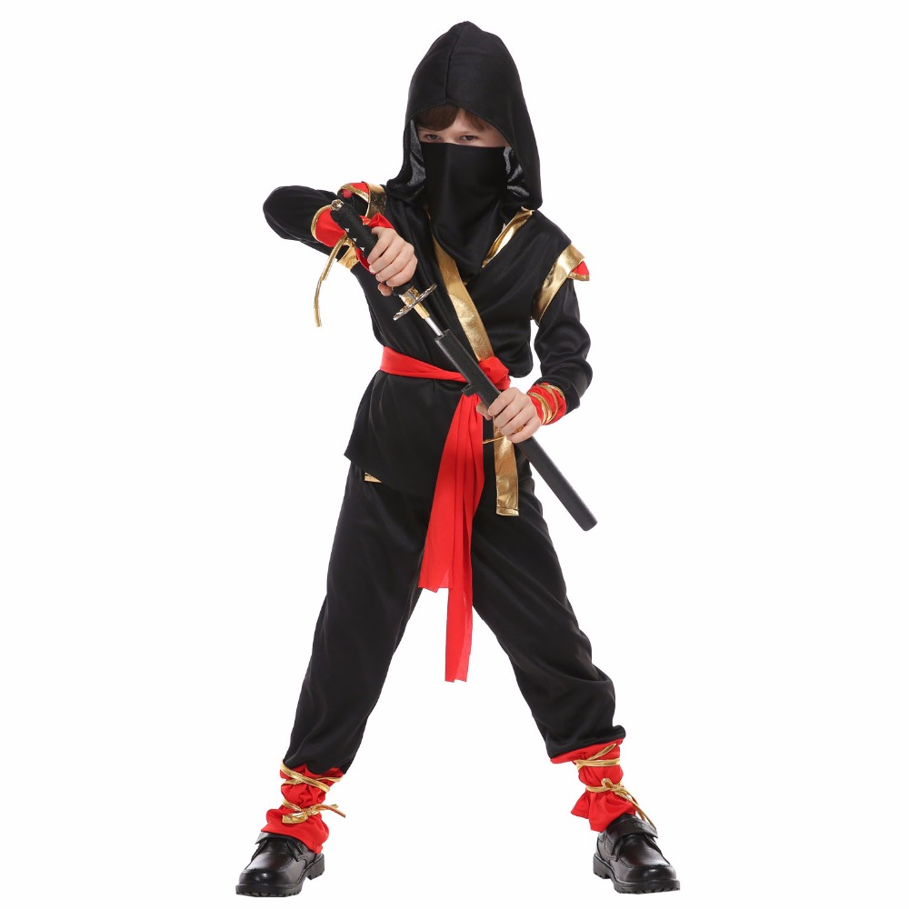 VASHEJIANG Newest Boys Girls Ninja Costumes Kids Warrior Stealth Children Cosplay Assassin Costume for Halloween Party dess