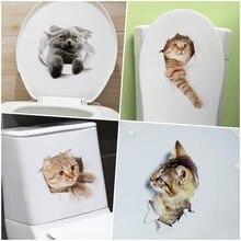 FANCY FIX Funny Cat Toilet Wall Sticker Kicthen Decorative 3D Waterproof