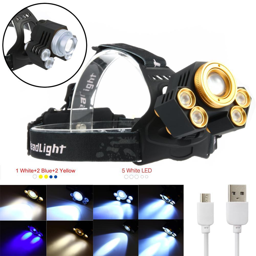 15000lm 5x T6 Led Rechargeable 2x18650 Usb Headlamp Head Light Zoomable + Usb Cable Gold/silver 100% High Quality Materials