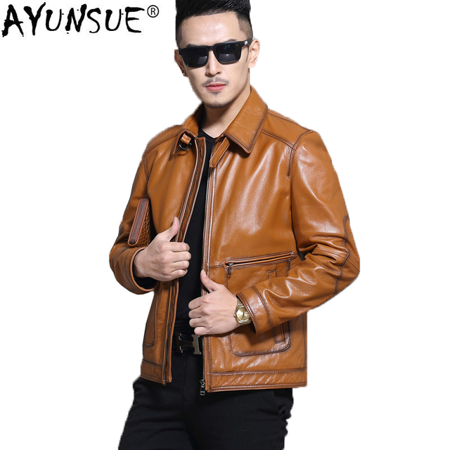 AYUNSUE Real Cow Leather Jacket Men Spring Autumn Motorcycle Genuine 100% Cowhide Coat Men Leather Jackets L16C3106 KJ1333