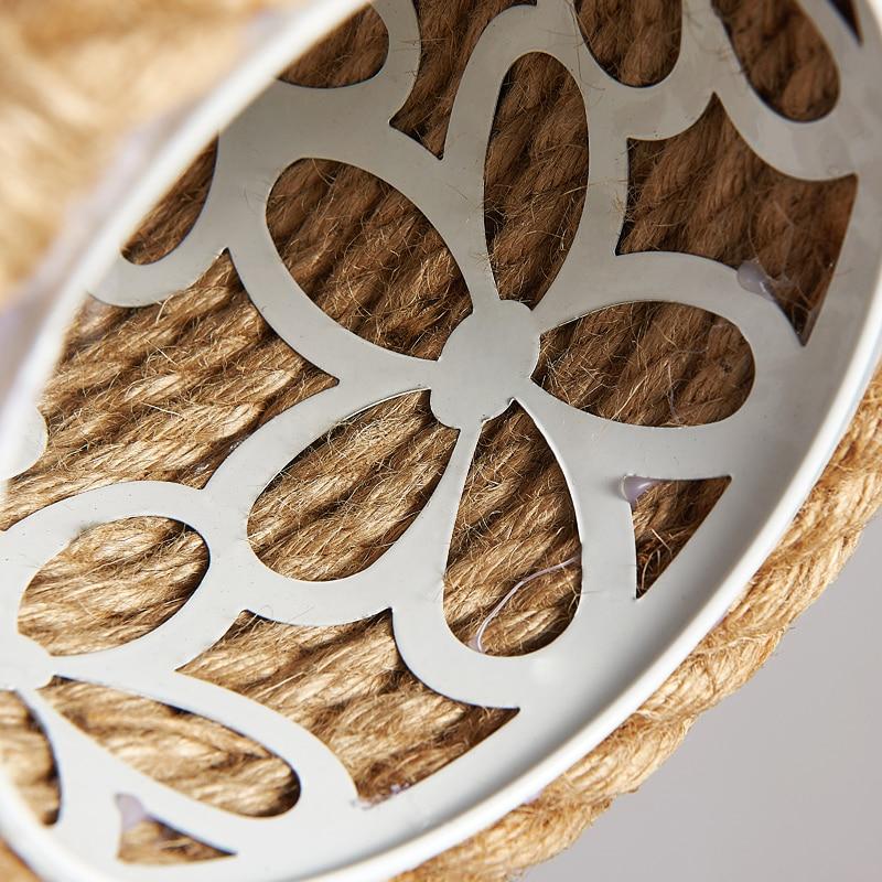 Retro Liny konopne wisiorek światła Loft Vintage Lampa ręcznie - Oświetlenie wewnętrzne - Zdjęcie 6