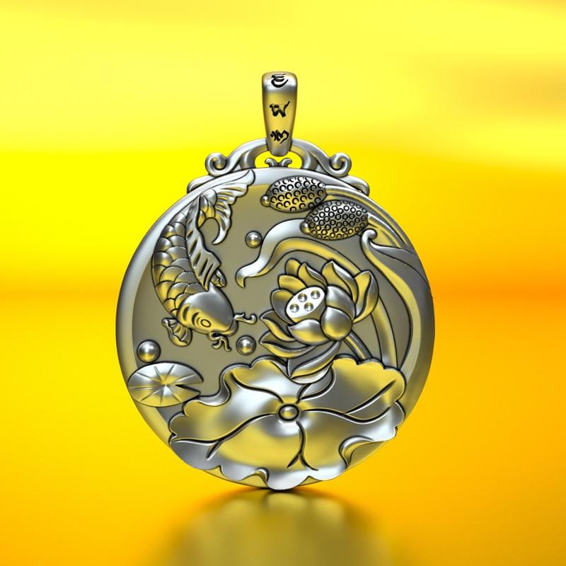 Pure Silver 999 Pure Silver Pendant for Silver Fish and Lotus