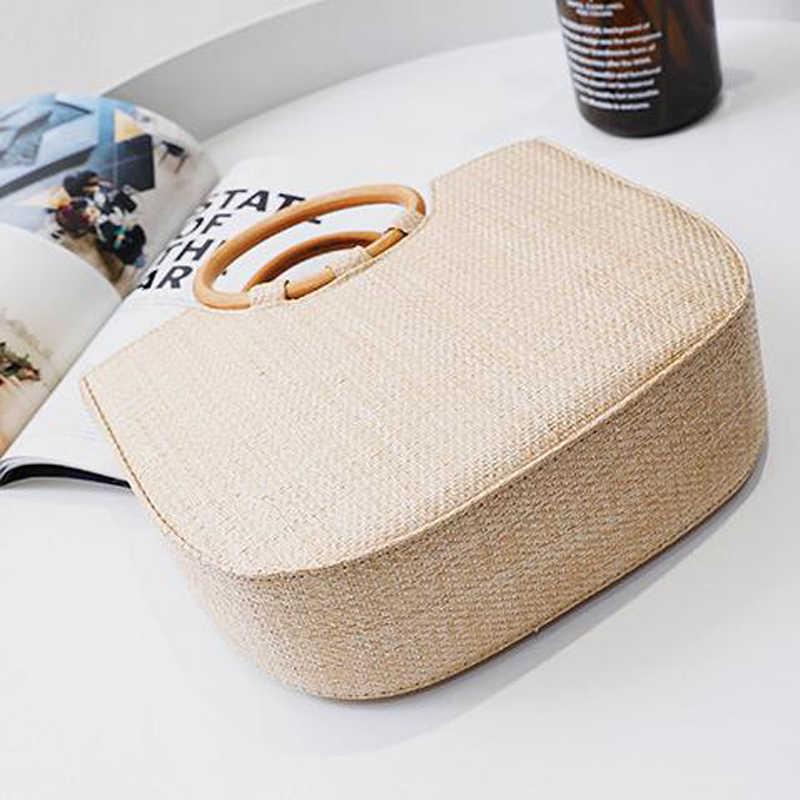 c6c480ede03f ... TOPHIGH 2018 новый тренд соломенная сумка посылка для женщин пляжные  пляжная сумка круглая деревянная ручка Соломенная ...