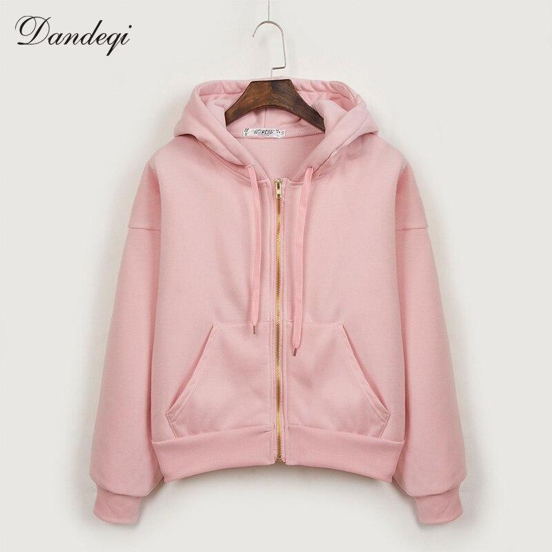 Sudaderas Mujer 2017 Autumn Winter New Harajuku Women Big Size Thick Hooded Jacket Casual Solid Zipper Women Hoodies Sweatshirts