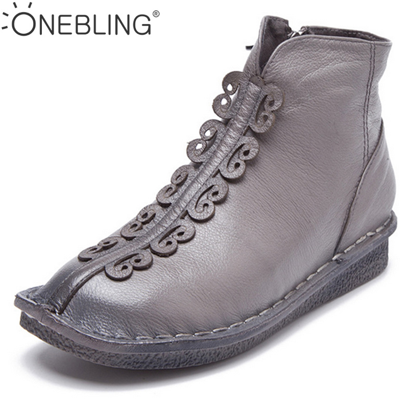 ONEBLING Spring Genuine Leather Women Boots 2017 Autumn Fashion Soft Low Heel Flat Ankle Boots Outdoor Casual High Top Shoes front lace up casual ankle boots autumn vintage brown new booties flat genuine leather suede shoes round toe fall female fashion
