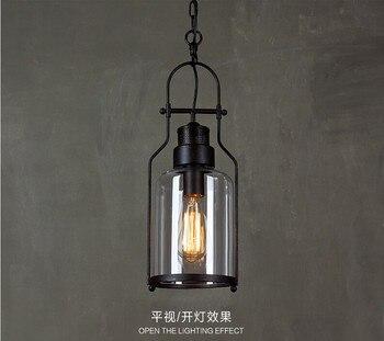 الأمريكية الصناعية الزجاج زجاجة قلادة ضوء بسيط القهوة بار مطعم مصباح إضاءة البار
