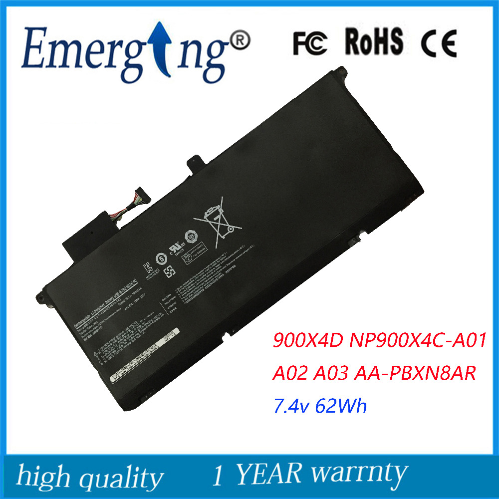 7.4V 62Wh New Laptop Battery for Samsung 900X4D NP900X4C NP900X4B NP900X4C-A01 A02 900X4B-A01DE A03 AA-PBXN8AR PBXN8AR laptop keyboard for samsung 900x4b 900x4c 900x4d uk united kingdom ba5903865a hmb8811gsb with backlit and without frame