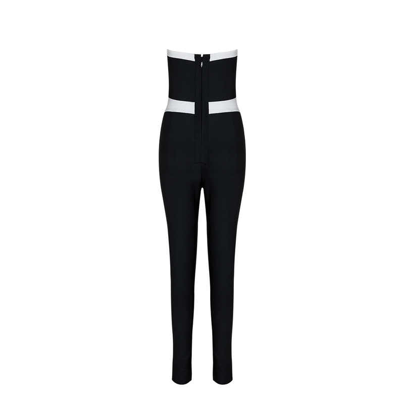 Top Kwaliteit Zwart Wit Blauw Geometrische Strapless Sexy Rayon Bandage Jumpsuits Avond Party Jumpsuits