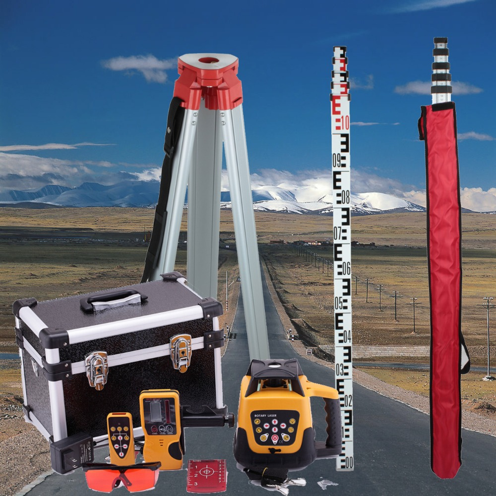 (ship from EU) Brand New 500m Range Self-leveling Rotary Rotating Red Laser Level + Tripod + Staff