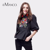 e-Manco Women's blouse 2017 China style Vintage black shirts embroidery Phoenix pattern tops lantern sleeve stand collar Blouse
