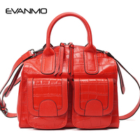 Winter First Layer Leather Women Handbags Large Capacity Women S Bag Crocodile Pattern Embossed Leather Shoulder