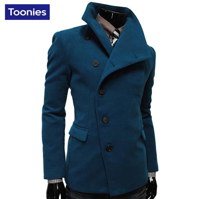 2017 New Arrival Autumn Wool Coat Men Brand Clothing Mens Coats Overcoats 4 Colors Fashion Oercoat Men Long Sleeve Abrigo Hombre