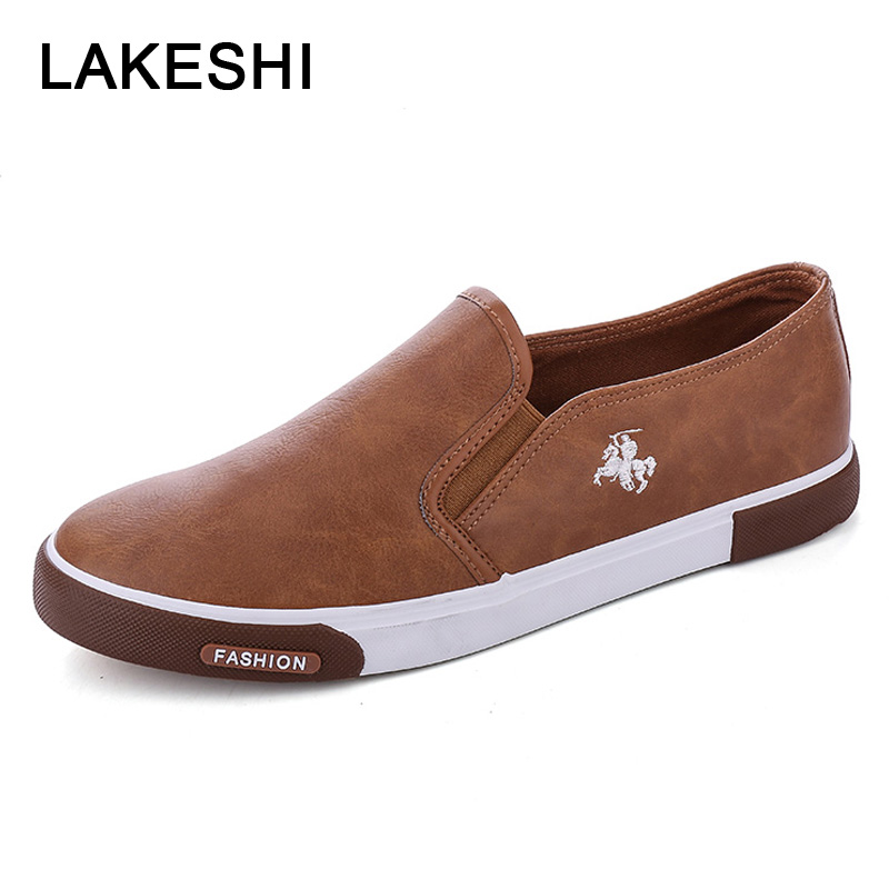 LAKESHI New 2020 Fashion Mens Shoes Outdoor Men Loafers Walking Shoes Black Men Casual Shoes Men Leather Shoes For Men Sneakers